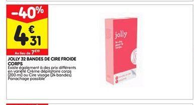 Jolly 32 bandes de cire froide corps offre à 4,31€