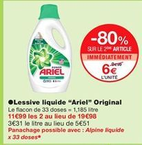 """Lessive liquide """"Ariel"""" original offre à 6€"""