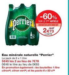 """Eau minérale naturelle """"perrier"""" offre à 2,73€"""