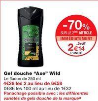 """Gel douche """"Axe"""" wild offre à 2,14€"""
