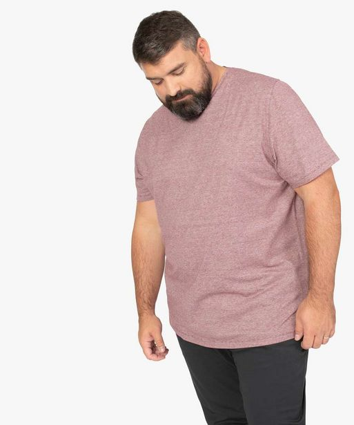 Tee-shirt homme grande taille col V à fines rayures offre à 12,99€
