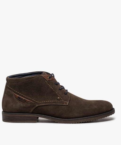 Boots homme unis à lacets dessus en cuir velours offre à 44,99€