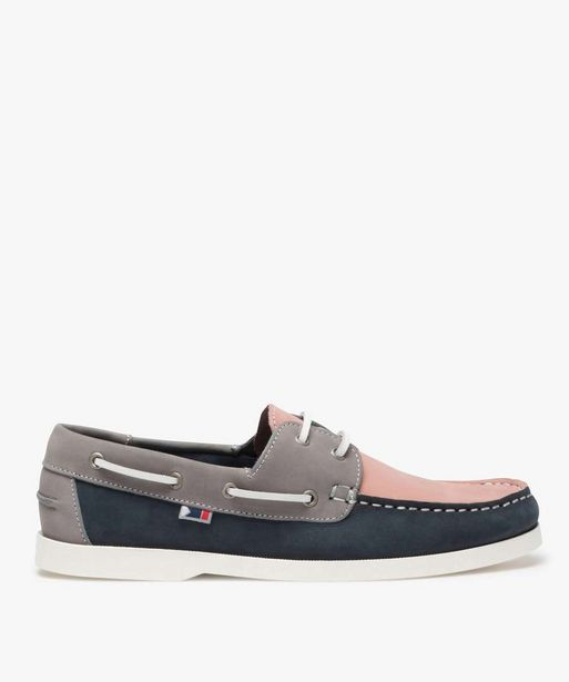 Chaussures bateau homme en cuir tricolore offre à 29,99€