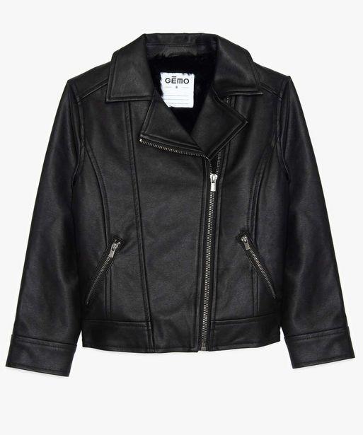Blouson fille zippé look rock à doublure duveteuse offre à 24,99€