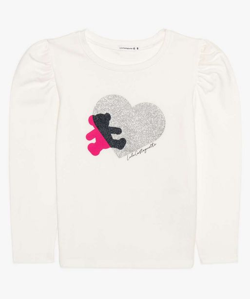 Tee-shirt fille manches longues ballon - Lulu Castagnette offre à 12,99€