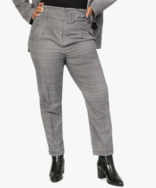Pantalon femme motif Prince de Galles coupe large avec ceinture offre à 29,99€