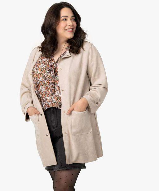 Manteau femme en suédine avec boutons métalliques offre à 39,99€