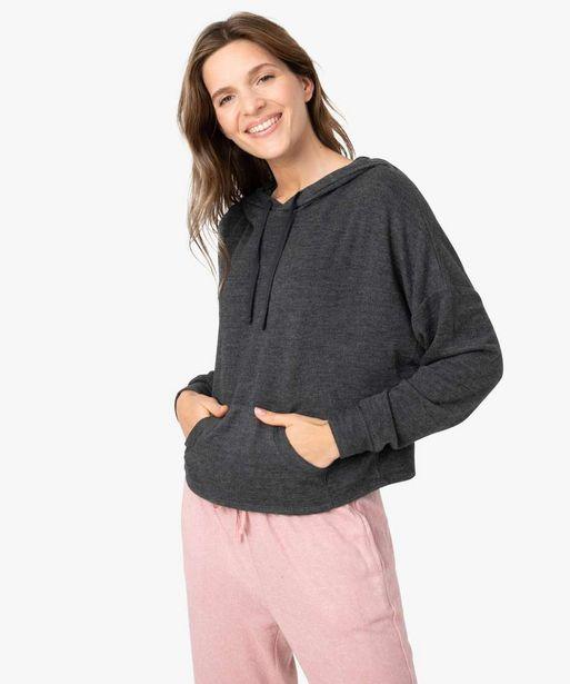 Haut de pyjama femme coupe sweat à capuche offre à 14,99€