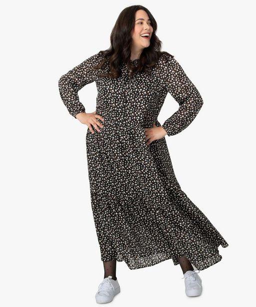 Robe longue femme à motifs fleuris et fil lurex offre à 39,99€