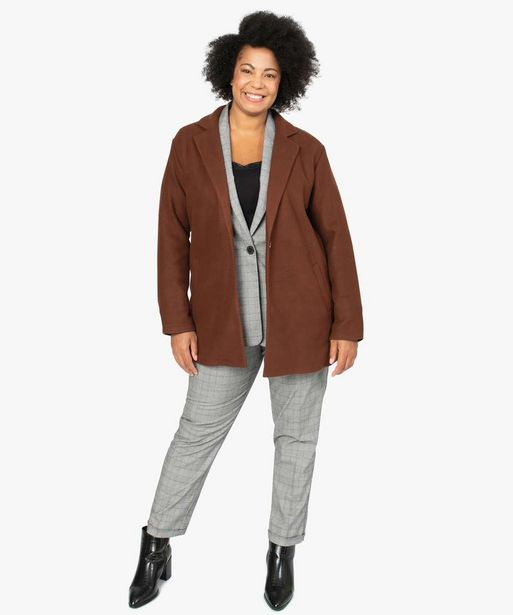 Manteau femme en maille polaire avec grand col offre à 29,99€
