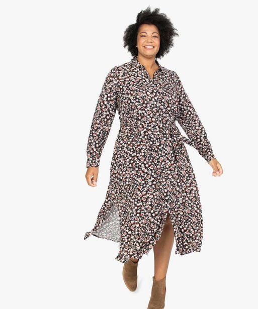Robe longue femme à motifs fleuris boutonnée sur l'avant offre à 39,99€