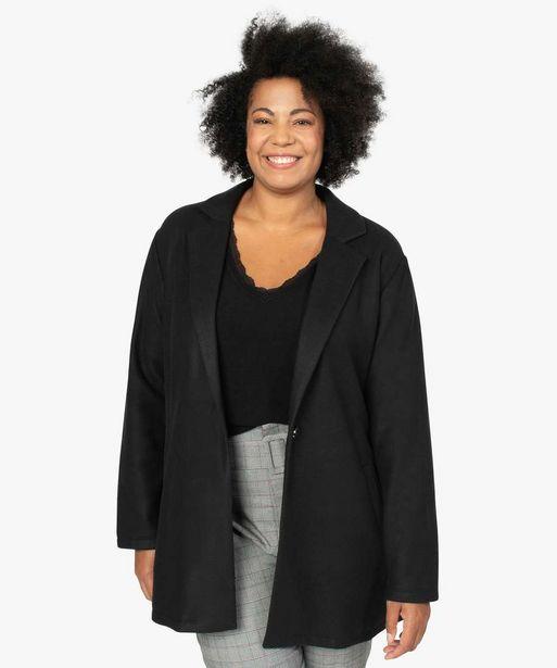 Manteau femme en maille polaire avec grand col offre à 39,99€