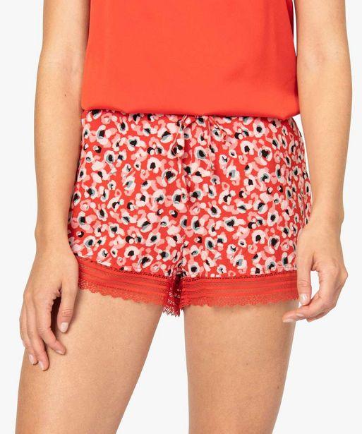 Short de pyjama femme à motif et dentelle offre à 4,99€