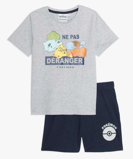 Pyjashort garçon bicolore avec motif imprimé - Pokemon offre à 9,09€