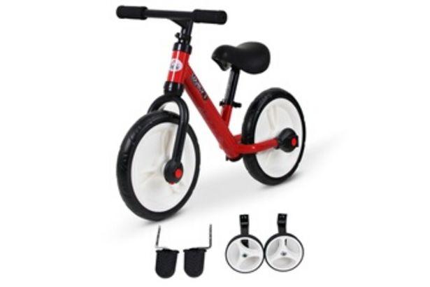 """Draisienne Vélo enfant draisienne 2 en 1 roulettes et pédales amovibles roues 11"""" hauteur selle réglable acier rouge HOMCOM offre à 62,9€"""