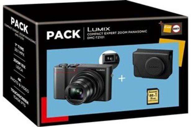 Appareil photo compact Pack Lumix TZ101 noir + housse + carte SD 16 Go Panasonic offre à 429,99€