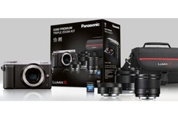 Appareil photo hybride DMC-GX80 Argent + 12-32 mm + 35-100 mm + 25 mm F1.7 + SDHC 8 Go + HOUSSE Panasonic offre à 599,99€