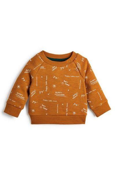 Sweat-shirt orange à col rond et imprimé bébé garçon offre à 4€