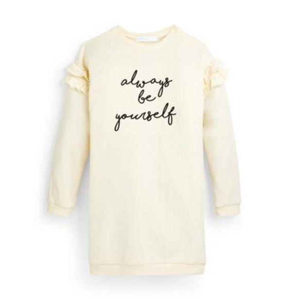 Robe sweat-shirt écrue à volants et message ado offre à 12€