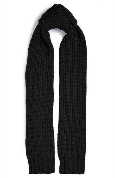 Écharpe noire épaisse en maille côtelée offre à 6€