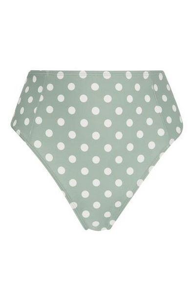 Bas de bikini taille haute vert à pois offre à 6€