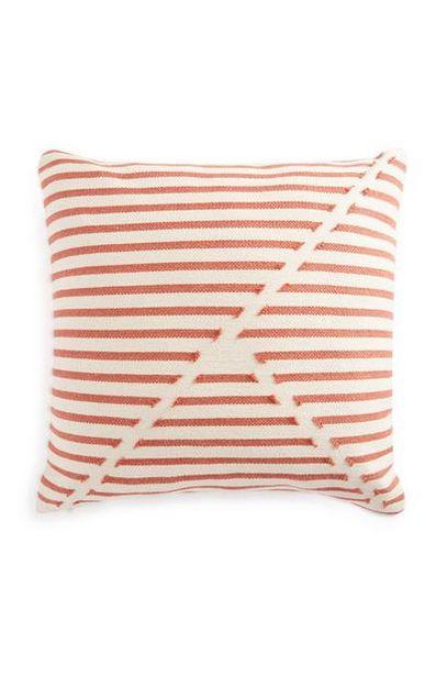 Coussin orange à rayures géométriques 50cm X 50cm offre à 12€