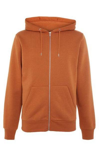 Sweat à capuche orange foncé zippé basique offre à 10€