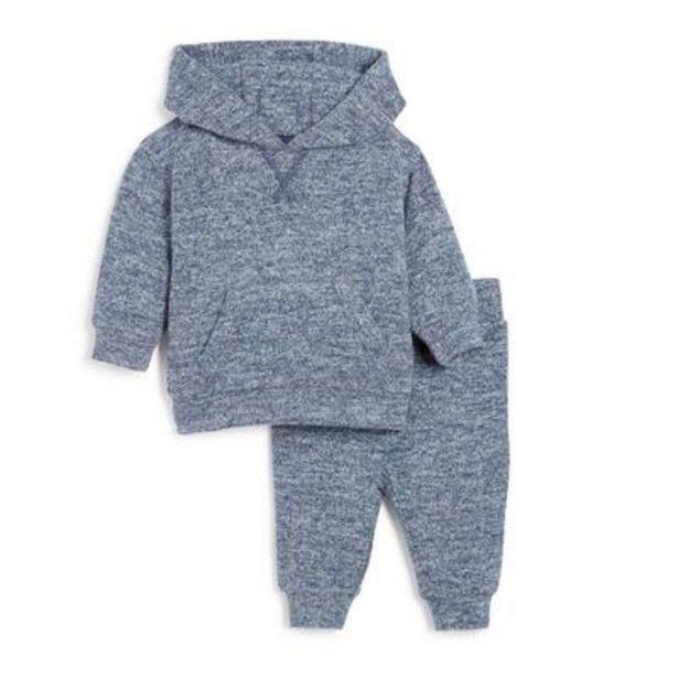 Ensemble d'intérieur 2 pièces bleu en maille à capuche bébé garçon offre à 10€