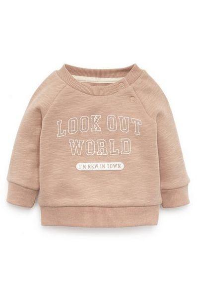 Sweat-shirt rose poudré ras du cou Look Out World bébé garçon offre à 4€