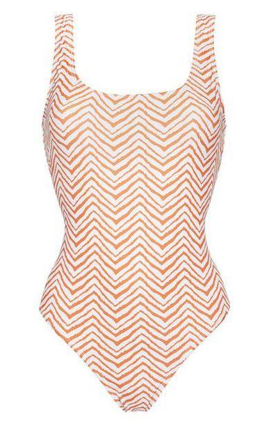 Maillot de bain blanc et orange à motif zigzags offre à 6€
