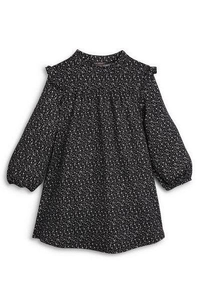 Robe noire imprimée douce à volants fille offre à 9€