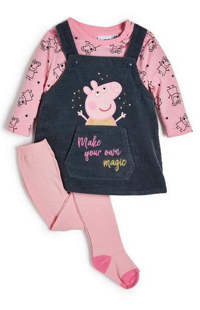Ensemble robe chasuble et legging rose Peppa Pig bébé fille offre à 19€