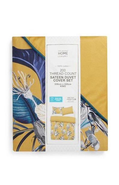 Parure de lit king size jaune et bleue à imprimé feuilles offre à 30€