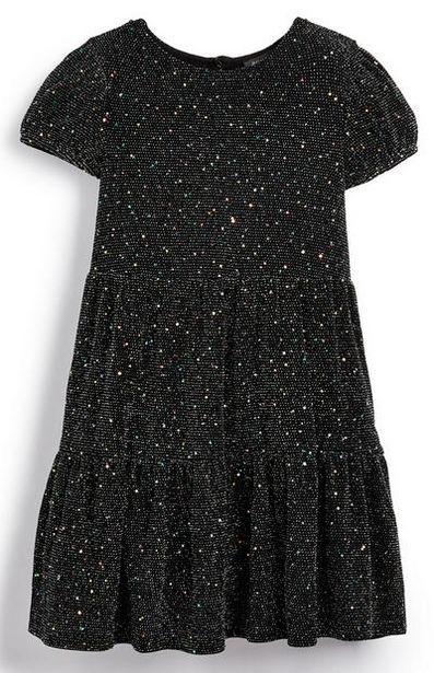 Robe noire scintillante à volants fille offre à 11€