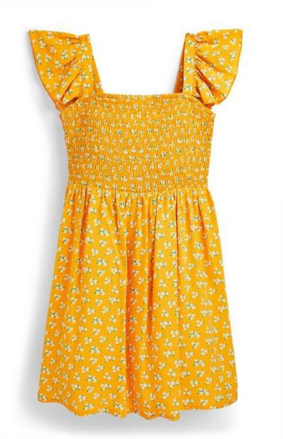 Robe jaune tissée et froncée ado offre à 9€