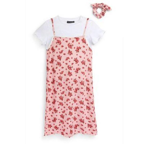 Robe caraco rose 3 en 1 en jersey à imprimé fleuri ado offre à 15€