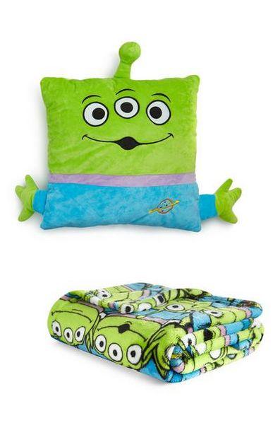 Lot avec coussin et jeté de lit aliens Toy Story offre à 14€