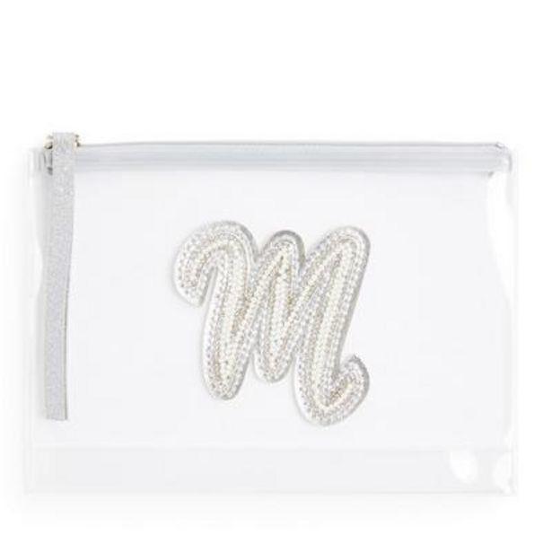 Pochette transparente cloutée à paillettes avec initiale M en fausses perles offre à 3€