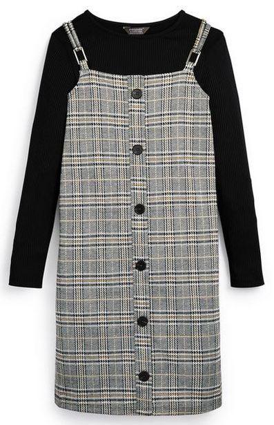 Haut à manches longues et robe chasuble à carreaux ado offre à 14€