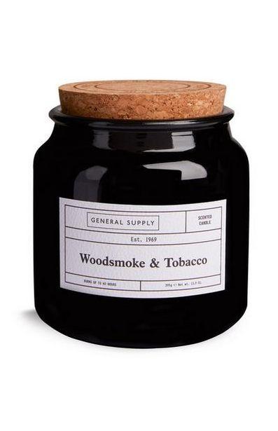 Grande bougie Woodsmoke and Tobacco avec couvercle en liège offre à 5€