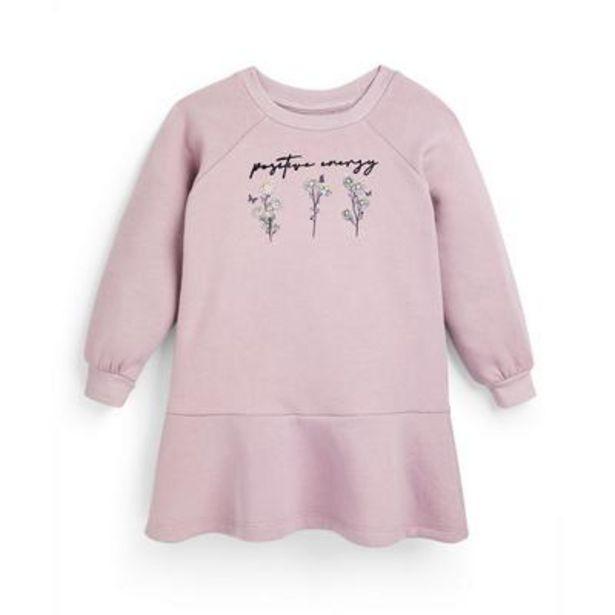 Robe sweat-shirt rose à imprimé fleuri fille offre à 10€
