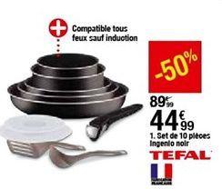 Set DE 10 PIÈCES Tefal L2009802 INGENIO NOIR  offre à 44,99€