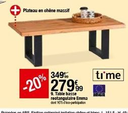Table basse reotangulaire Emma offre à 279,99€