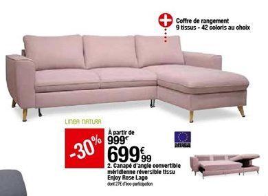 Canapé d'angle convertible méridienne réversible tissu Enjoy Rose Lago offre à 699,99€