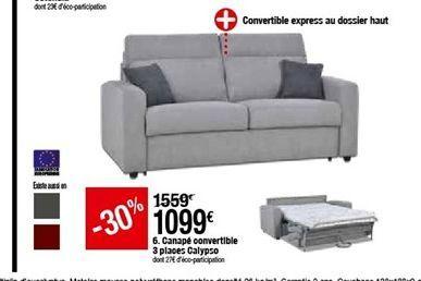 Canapé convertible 3 places Calypso offre à 1099€