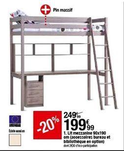 Lit mezzanine 90x190 cm (accesoires bureau et bibliothèque en option) offre à 199,99€