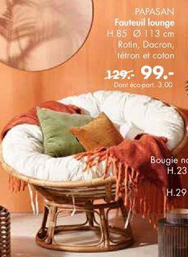 PAPASAN Chaise Lounge naturel, blanc cassé H 85 cm; Ø 113 cm offre à 99€
