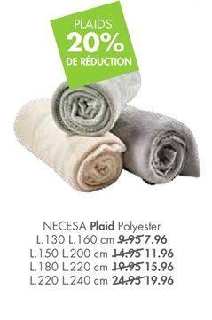NECESA Plaid noir Larg. 130 x Long. 160 cm offre à 7,96€