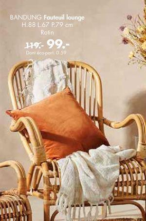 BANDUNG Fauteuil lounge naturel H 88 x Larg. 67 x P 79 cm offre à 99€