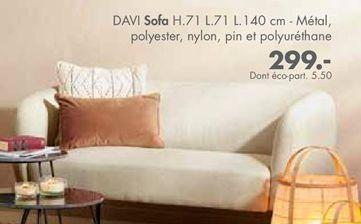 DAVI Sofa beige H 71 x Larg. 71 x Long. 140 cm offre à
